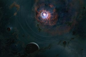 stars space nebula galaxy digital art planet