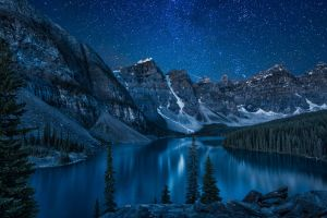 stars trees lake nature mountains canada reflection forest landscape snow