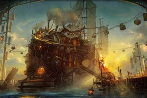 steampunk artwork fantasy art fantasy city