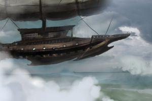 steampunk clouds ship
