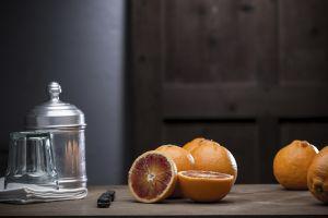 still life knife orange food fruit