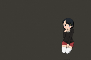 stockings shy short hair manga equal (artist) short skirt schoolgirl school uniform anime girls dark hair