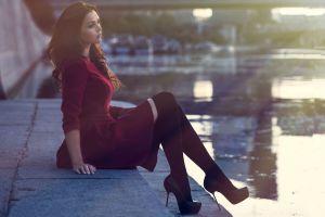 stockings women portrait black heels high heels river looking away black stockings sitting skinny red dress black boots