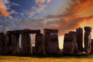 stone circle ancient stonehenge  sunset monument