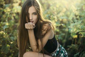 straight hair long hair finger on lips lipstick open mouth blue eyes brunette women tank top women outdoors depth of field