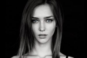 straight hair portrait open mouth monochrome simple background brunette rachel cook looking at viewer women long hair