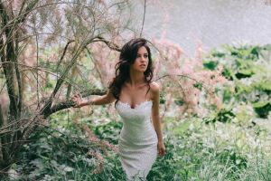 strapless dress model brunette cleavage blue eyes women looking away women outdoors aurela skandaj long hair white dress