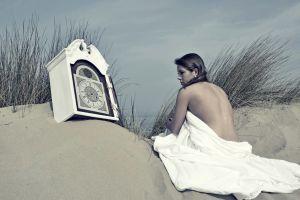 strategic covering time women outdoors beach clocks sand model