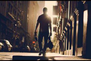 street men backlighting urban