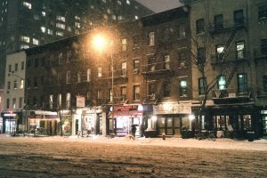 street winter snow street light urban