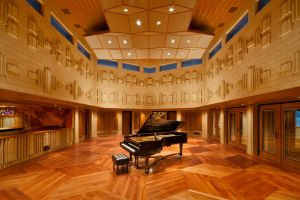 studio wooden surface piano interior