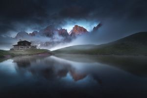 summer lake clouds cabin nature italy mountains mist landscape grass