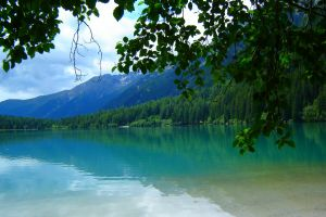 summer landscape green italy leaves nature forest mountains lake trees water tyrol