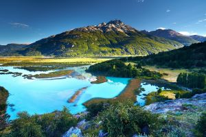 summer landscape mountains river trees nature chile shrubs sunset patagonia water turquoise