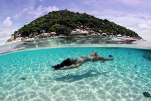 summer wet hair bikini women outdoors landscape underwater nature women sea tropical wet body island thailand beach