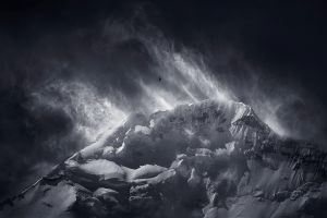 summit wind snowy peak himalayas birds mountains nature flying monochrome landscape clouds
