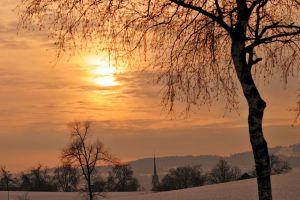 sun landscape church winter