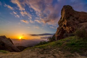 sun rays landscape mist mountains sunrise