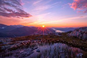 sun rays landscape sunrise lens flare mountains spring