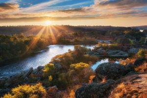 sun rays nature trees water landscape fall shrubs hills river ukraine clouds