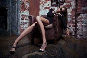sunglasses women women with glasses chair high heels black heels black dress fedor shmidt sitting