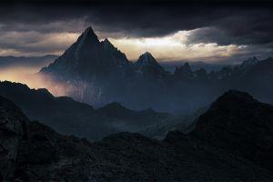 sunlight landscape mountains nature summit mist clouds