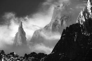 sunlight monochrome mountains nature wind mist snow france alps landscape