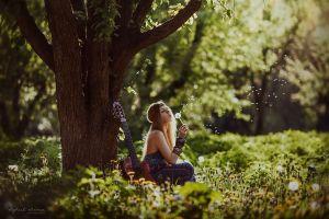 sunlight women legs green women outdoors hippie  eyes guitar nature