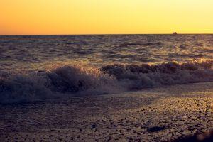 sunset beach waves coast sea horizon