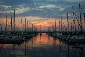 sunset boat harbor