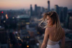 sunset city model blonde women
