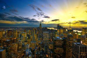 sunset city new york city cityscape lights lights urban