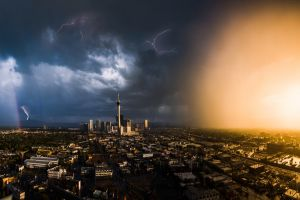 sunset cityscape nature city las vegas lightning usa clouds rainbows storm