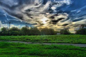 sunset clouds landscape hdr