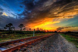 sunset hdr railway