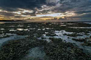 sunset island clouds horizon sea landscape coast