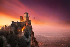 sunset landscape birds town hills rock nature trees tower san marino house architecture castle mountains clouds