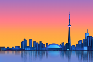 sunset minimalism city toronto reflection