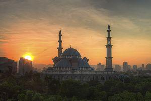 sunset mosque islam kuala lumpur cityscape islamic architecture