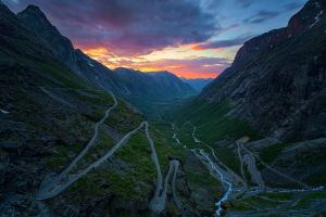 sunset nature norway mountains valley road river landscape clouds