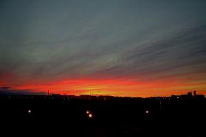 sunset orange sky landscape urban silhouette