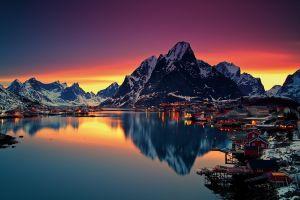 sunset reflection norway sea lofoten islands mountains lofoten snow reine nature winter water
