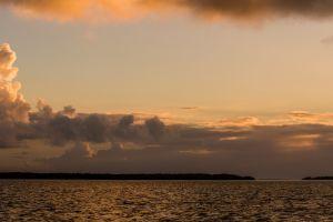 sunset skyscape sea sky clouds orange sky dual monitors
