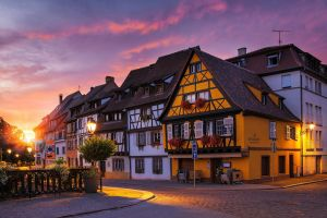 sunset street city urban colmar sunset lights