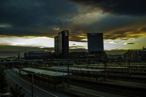 sunset train station building horizon oslo