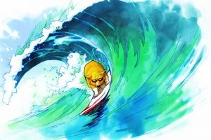 surfing dog drawing