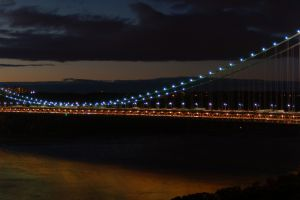 suspension bridge city lights george washington bridge dusk bridge