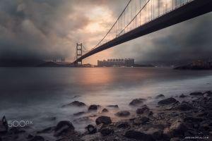 suspension bridge overcast hong kong city bridge