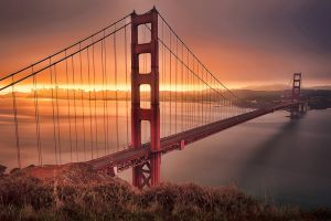 suspension bridge sunrise san francisco golden gate bridge bridge