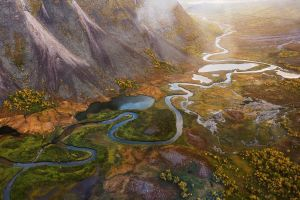 sweden fall mountains mist river sunlight nature trees aerial view landscape